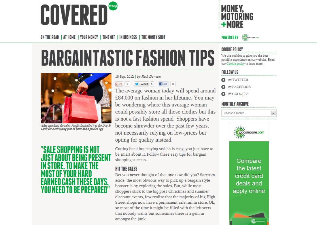 Bargaintastic fashion tips - Ruth Dawson - Covered magazine 1