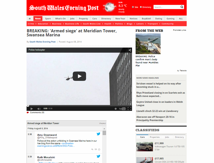 BREAKING: 'Armed siege' at Meridian Tower Swansea Marina
